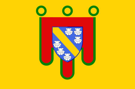 Flag of Cantal is a department in south-central France and is part of the current region of Auvergne-Rhone-Alpes, with its capital at Aurillac. Vector illustration