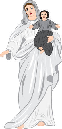 赤ちゃんの手に持つマドンナ。ベクトル図