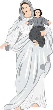 손에 아기와 함께 마돈나입니다. 벡터 일러스트 레이 션