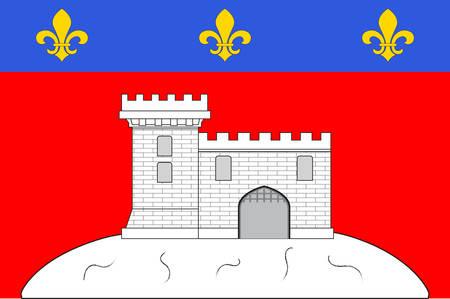 Vlag van Montbrison is een gemeente in het departement Loire in Midden-Frankrijk. Vector illustratie Stock Illustratie