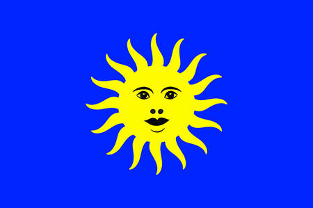 provinces: Flag of Lure is a commune in the Haute-Saone department in the region of Bourgogne-Franche-Comte in eastern France. Vector illustration