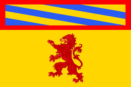 provinces: Flag of Autun is a commune in the Saone-et-Loire department in Bourgogne-Franche-Comte in eastern France. Vector illustration