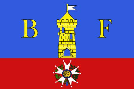 Flag of Belfort is a city in northeastern France in the Bourgogne-Franche-Comte region. Vector illustration Illustration