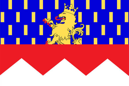 provinces: Flag of Jura is a department in the east of France named after the Jura mountains. Vector illustration