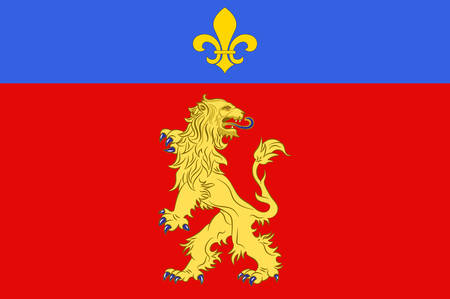 Flag of Charolles is a commune in the Saone-et-Loire department in the region of Bourgogne in eastern France. Vector illustration