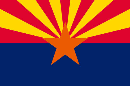 Flag of Arizona state, United States. Vector 일러스트