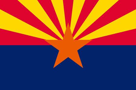 Flag of Arizona state, United States. Vector Illustration