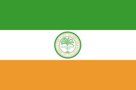 fl: Flag of Miami is a city of Florida, United States. Vector illustration