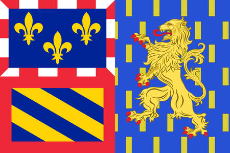 Flag of Bourgogne-Franche-Comte is a Region of France created by the territorial reform of French Regions in 2014 by the merger of Burgundy, and Franche-Comte. Vector illustration