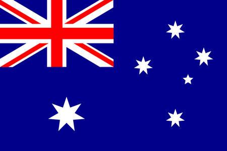 Vlag van Australië is een Oceanisch land dat het vasteland van het Australische continent, het eiland Tasmanië en talrijke kleinere eilanden omvat. Vector Stock Illustratie
