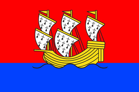 Flag of Morlaix is a commune in the Finistere department of Brittany in northwestern France Vector illustration