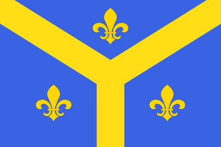 Drapeau d'Issoudun est une commune française, située dans le département de l'Indre et l'illustration vectorielle. Banque d'images - 81663917