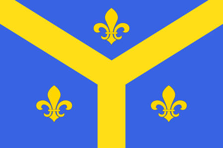 Flag of Issoudun is a commune in the Indre department in the central region of France Vector illustration Illustration