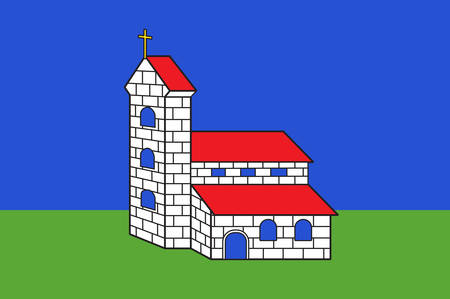 Flag of Altkirch is a commune in the Haut-Rhin department in Alsace in north-eastern France Vector illustration Illustration