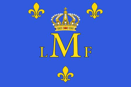 Le drapeau de Montargis est une commune du département du Loiret au centre-nord de la France sur la rivière Loing. Banque d'images - 81661900