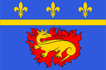 Flag of Vitry-le-Francois is a commune in the Marne department in north-eastern France Vector illustration
