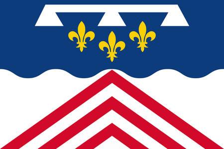 Drapeau de l'Eure-et-Loir est un département français, nommé d'après les rivières Eure et Loir Vector illustration Banque d'images - 81664004