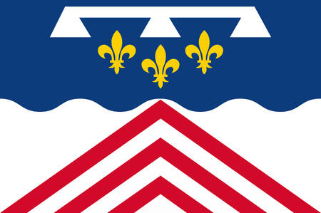 Flag of Eure-et-Loir is a French department, named after the Eure and Loir rivers Vector illustration