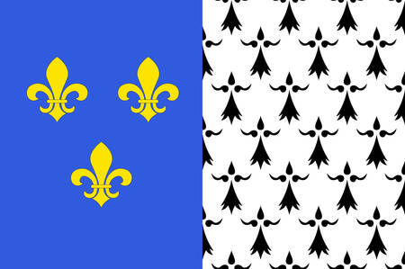 Flag of Brest is a city in the Finistere departement in Brittany in northwestern France Vector illustration