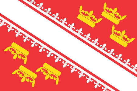Flag of Alsace is a cultural and historical region in eastern France now located in the administrative region of Grand Est Vector illustration