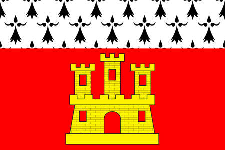 bretagne: Flag of Dinan is a walled Breton town and a commune in the Cotes-dArmor department in northwestern France Vector illustration