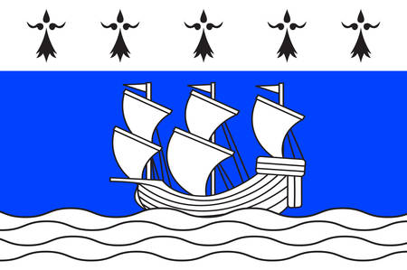 northwestern: Flag of Redon is a commune in the Ille-et-Vilaine department in Brittany in northwestern France Vector illustration Illustration