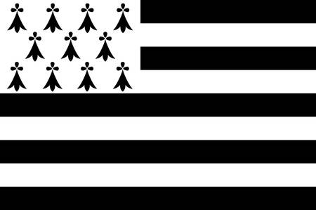 Flag of Brittany is one of the 18 regions of France. The regional capital is Rennes Vector illustration 일러스트