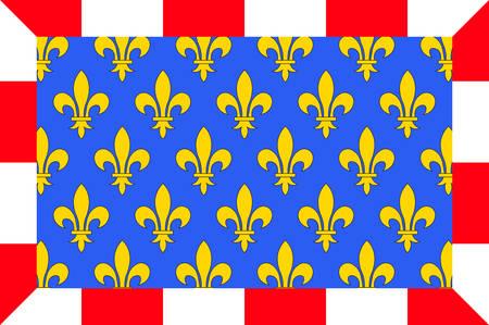 Drapeau de l'Indre-et-Loire est un département de la région centre-ouest de la France qui porte le nom de l'Indre et de la Loire. Illustration vectorielle Banque d'images - 81664198