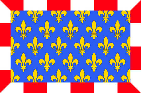 Flag of Indre-et-Loire is a department in west-central France named after the Indre and the Loire rivers Vector illustration Illustration