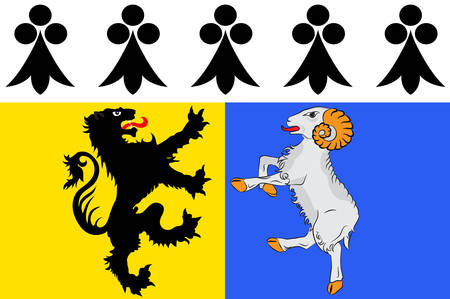Flag of Finistere is a department of France in the extreme west of Brittany Vector illustration