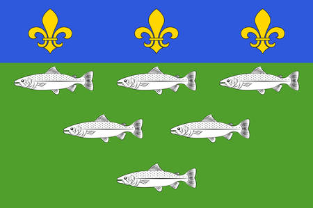 Flag of Loches is a commune in the Indre-et-Loire department in central France Vector illustration Illustration