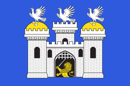 Flag of Sainte-Menehould is a commune in the Marne department in north-eastern France. Vector illustration