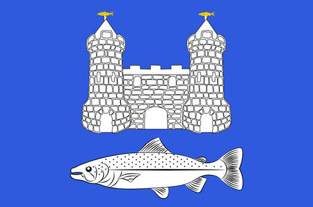 Flag of Chateaulin is a commune in the Finistere department in the region of Brittany in north-western France. Vector illustration