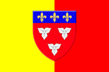 Flag of Orleans is a city in north-central France, it is the capital of the Loiret department and of the Centre-Val de Loire region. VEctor illustration Illustration