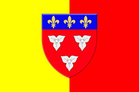 Le drapeau d'Orléans est une ville du centre-nord de la France, c'est la capitale du département du Loiret et du Centre-Val de Loire. Illustration VEctor Banque d'images - 81663810