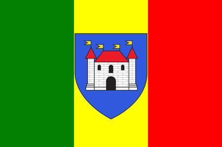 Drapeau de Châteauroux est la capitale du département de l'Indre dans le centre de la France. Illustration vectorielle Banque d'images - 81663813