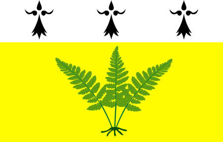 bretagne: Flag of Fougeres is a commune and a sub-prefecture of the Ille-et-Vilaine department in Brittany in northwestern France. Vector illustration Illustration