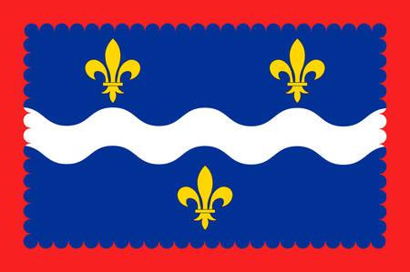 Drapeau de l'Indre est un département du centre de la France nommé après l'Indre. Illustration vectorielle Banque d'images - 81663876
