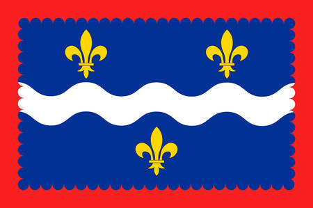 Flag of Indre is a department in the centre of France named after the river Indre. Vector illustration Illustration