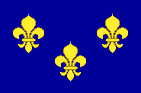 Flag of Ile-de-France also known as the region parisienne is one of the 18 regions of France, and includes the city of Paris. Vector illustration