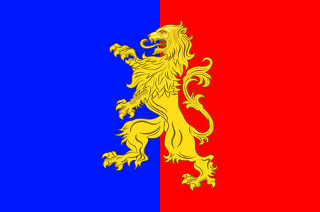 manche: Flag of Bernay is a commune in the west of the Eure department in northern France. The city is in the Pays dOuche and the Lieuvin. Vector illustration