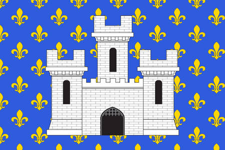 Flag of Melun is a commune in the Seine-et-Marne department in the Ile-de-France region in north-central France, France. Vector illustration