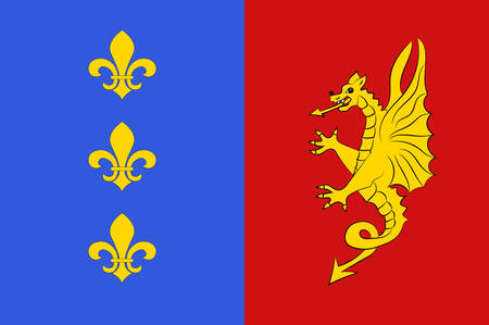 la: Flag of Bergerac is a commune and a sub-prefecture of the Dordogne department in southwestern France. Vector illustration