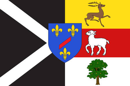 Flag of Rambouillet is a commune in the Yvelines department in the Ile-de-France in north-central France. Vector illustration