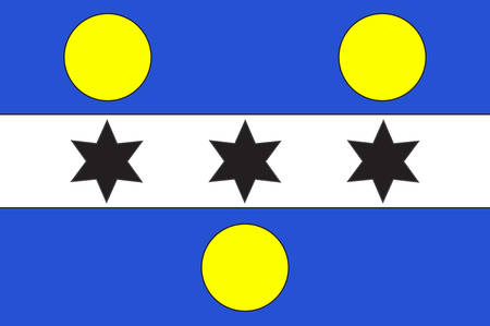 former: Flag of Cherbourg-Octeville is a city and former commune situated at the northern end of the Cotentin peninsula in the northwestern French department of Manche. Vector illustration