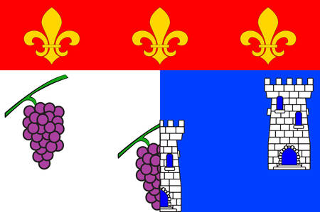 manche: Flag of Les Andelys is a commune in the Eure department in Normandy in northern France. Vector illustration