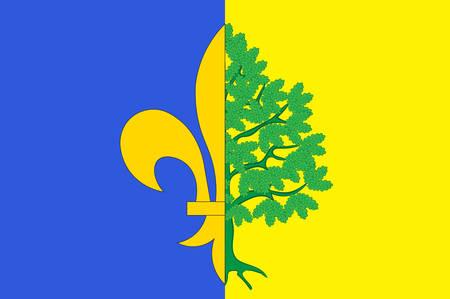 マント ・ ラ ・ ジョリーの旗は、北中央フランスでイルド フランス地方のイヴリーヌ県の部門のコミューンです。ベクトル図