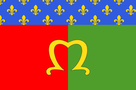 Flag of Meaux is a commune in the Seine-et-Marne department in the Ile-de-France region in the metropolitan area of Paris, France. Vector illustration 向量圖像