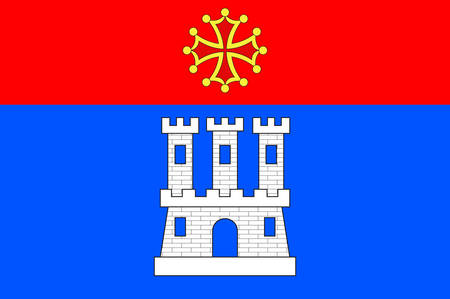 Flag of Castelsarrasin is a commune in the Tarn-et-Garonne department in Occitanie region of France. Vector illustration Illustration