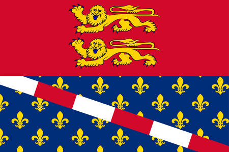 manche: Flag of Eure is a department in Normandy is a Region in the north of France. Vector illustration